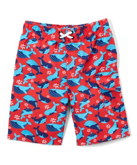 86d2239450 JumpN Splash Red Whale Swim Trunks - Boys | Zulily