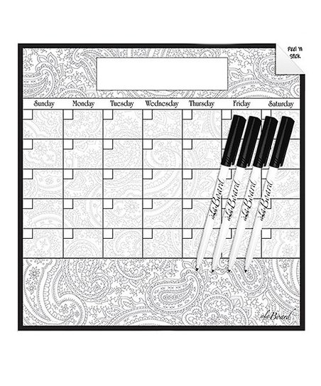 Ala Board Paisley Dry Erase Monthly Calendar Wall Decal Dry Erase