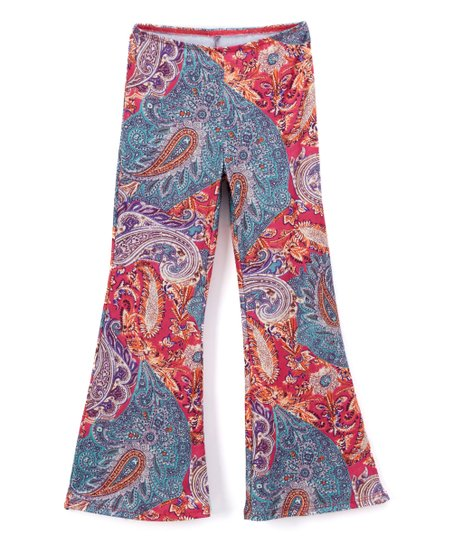 78c8868c905ed ZING! by Cruz Red & Blue Paisley Flare Pants - Girls | Zulily