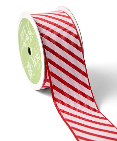 May Arts Ribbon 1 5'' Red & White Grosgrain Ribbon with Diagonal Stripes