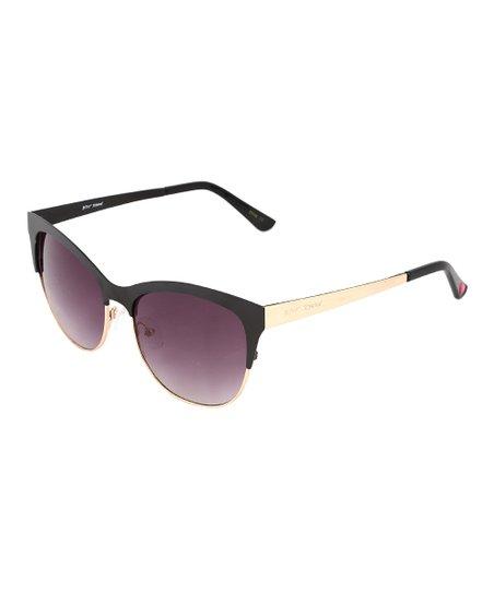 ff1dae348050 Betsey Johnson® Black   Gold Browline Sunglasses