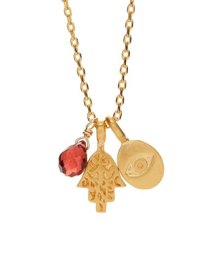 Garnet and Thai Gold with Matching Hamsa EarringsNecklace and Earrings SetHamsagarnetgold