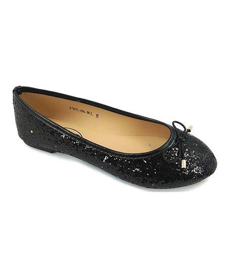 beae875658fc Ositos Shoes Black Glitter Bow Flat - Women