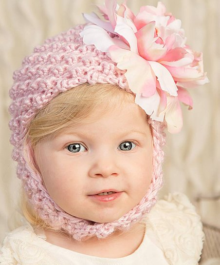 love this product Pale Pink Floral Earflap Beanie - Infant 80a51a1b84cf