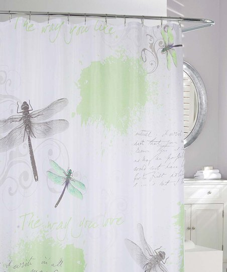 pretty dragonfly shower curtains. Green  Gray Dragonfly Shower Curtain Moda at Home zulily