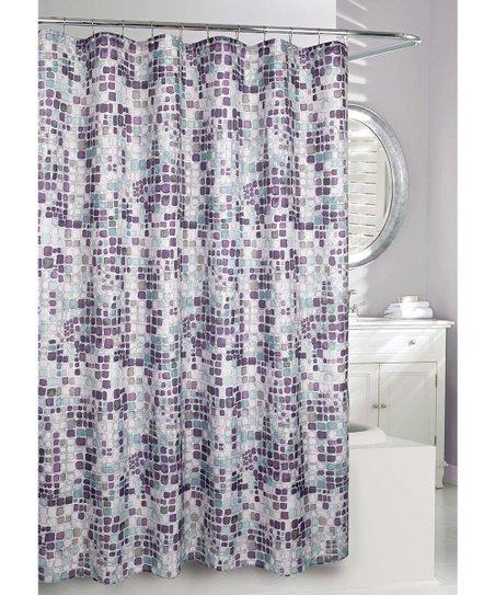 gray purple seurat shower curtain