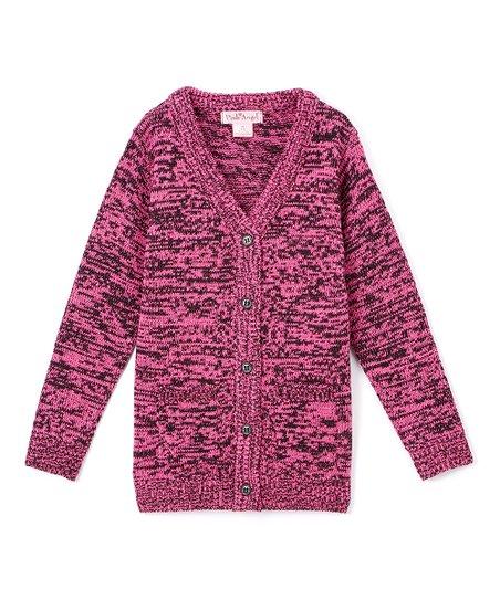 ed5c5b52593a Pink Angel Fuchsia   Black Twist V-Neck Cardigan - Infant