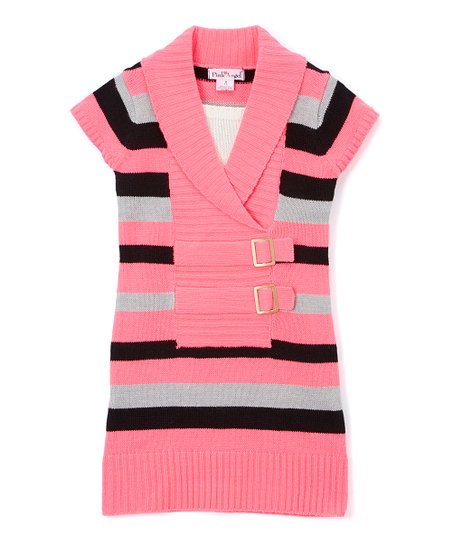 af08ca4d4ac love this product Neon Pink Stripe Double-Buckle Sweater Dress - Girls