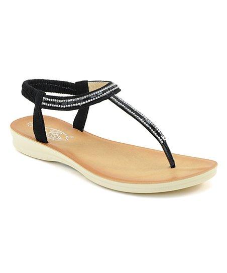 8f5404712 Selina Black Rhinestone T-Strap Sandal - Women
