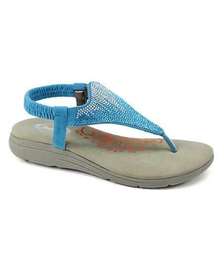 e99ab71da384 love this product Turquoise Rhinestone T-Strap Sandal - Women