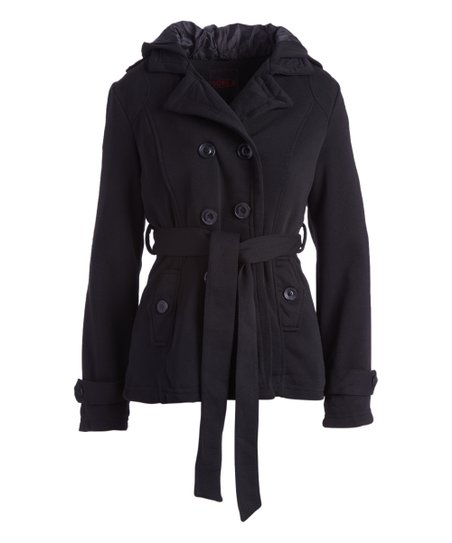 cc8ff82b388 love this product Black Hooded Belted Fleece Peacoat - Women