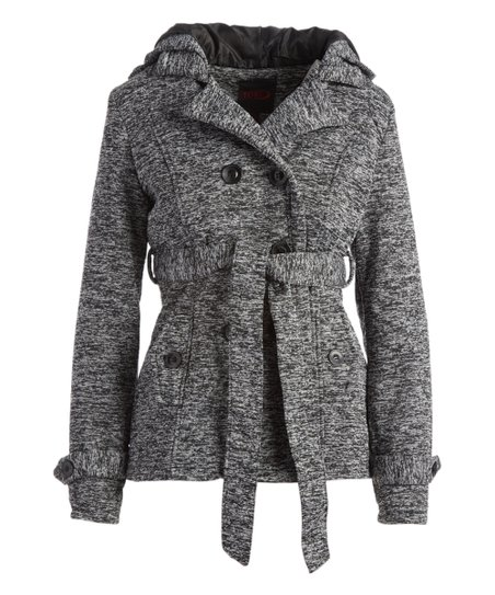 49bef26d439 love this product Black Space-Dye Hooded Belted Fleece Peacoat - Women