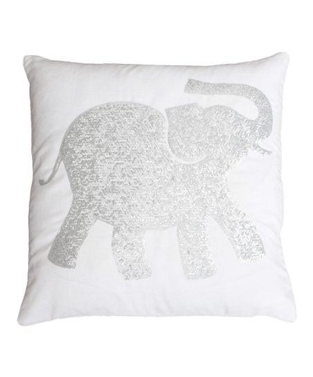 THRO Bright White   Silver Sequin Elazar Elephant Throw Pillow  03c6ab910c