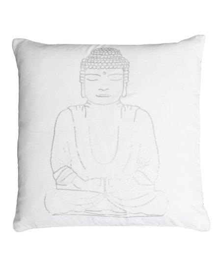 THRO Bright White   Silver Sequin Buddha Throw Pillow  dba390f502
