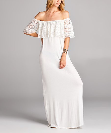 785ad8c576a1 love this product White Lace Off-Shoulder Maxi Dress - Women