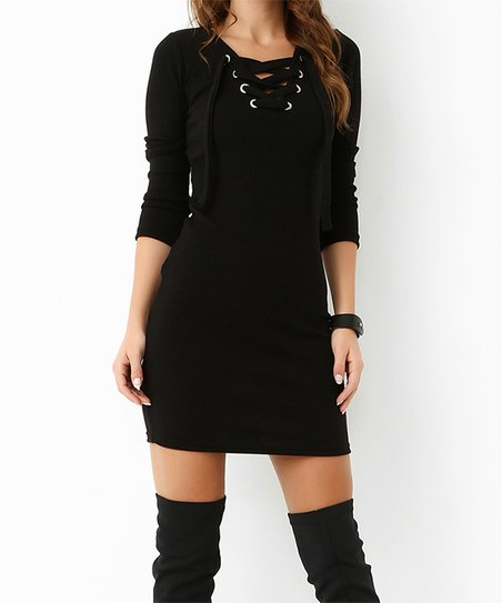 9c1d097acc40 love this product Black Lace-Up V-Neck Dress - Women