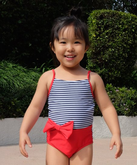 ddafc91aa0803 love this product Navy   Red Stripe Colorblock One-Piece - Girls