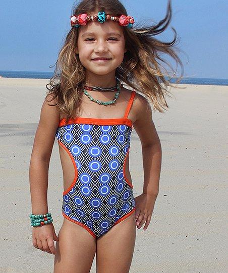 8c9e2f1882 Azul Swimwear Orange & Blue Haukuna Matata One-Piece - Girls | Zulily