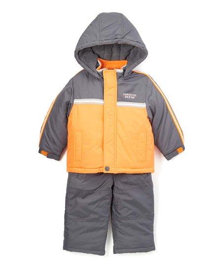 584bbe8fa9f9 London Fog Orange Puffer Coat   Gray Snow Suit - Boys