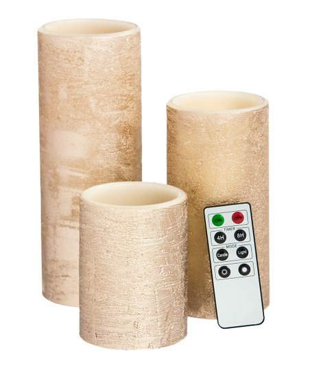 Rose Gold LED Pillar Candle Set