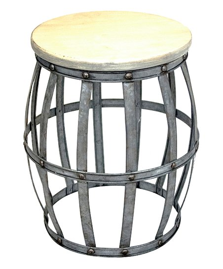 Beau Sagebrook Home Galvanized Open Barrel Wood Top Side Table
