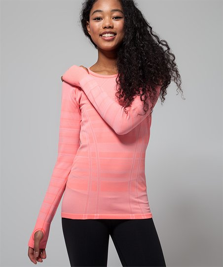 8bb99a83 ivivva Fit Stripe Heathered Grapefruit Fly Tech Long-Sleeve Tee | Zulily