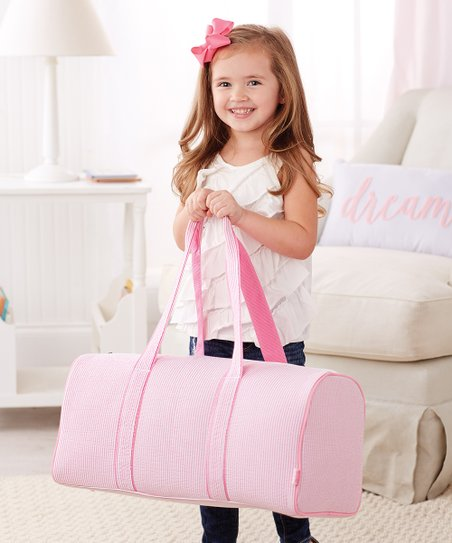093326563 Mud Pie Pink Seersucker Duffel Bag - Toddler