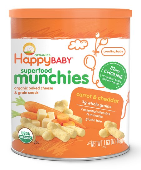 Happy Family Brands Cheddar Cheese & Carrot Baked Organic Snack - Set of Six