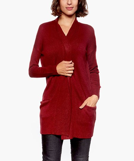 b5941afaee6 Dark Red Open-Front Cardigan - Women