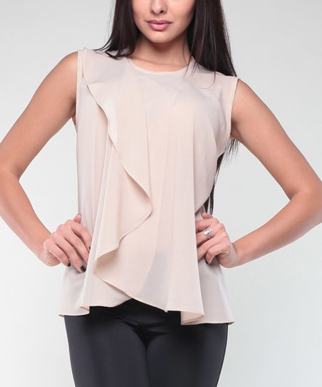 30c02326465 Rebecca Tatti Beige Ruffle Sleeveless Top - Plus Too