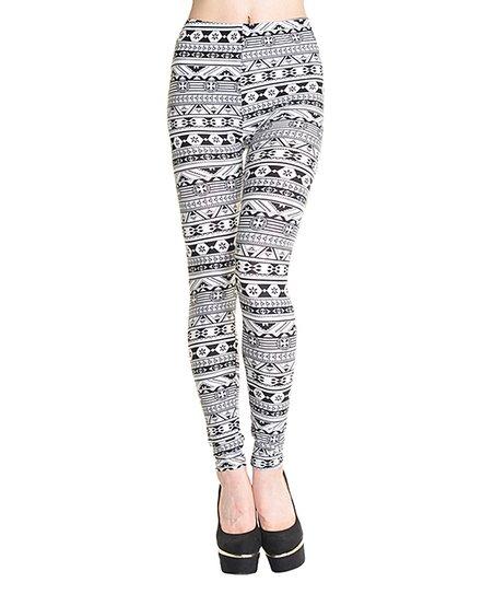 dfd3132d6dbdb Angelina Black & White Geometric Graphic Leggings - Women | Zulily