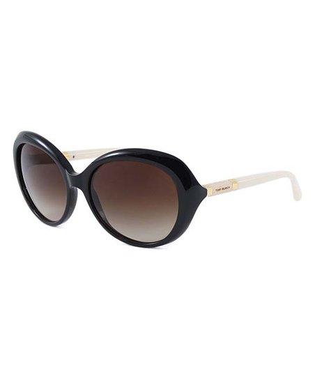 9413da4b9 Tory Burch Black & Smoke Gradient Round Sunglasses | Zulily