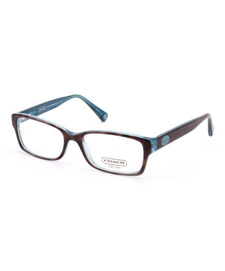 7e27b167c8 Coach Dark Tortoise   Teal Brooklyn Eyeglasses