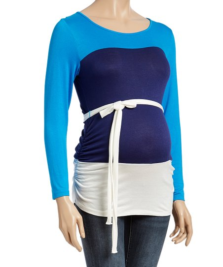 0548a4dccf9b1 Mom & Co Blue & Navy Color Block Tie-Waist Maternity Top | Zulily