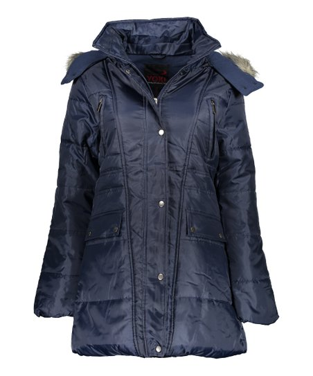 9049212ae11a love this product Navy Faux Fur-Hood Quilted Puffer Jacket - Women