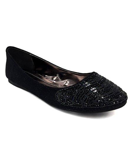 3e4fdb36a7 DBDK Fashion Black Sparkle Toe Kiki Ballet Flat - Women   Zulily