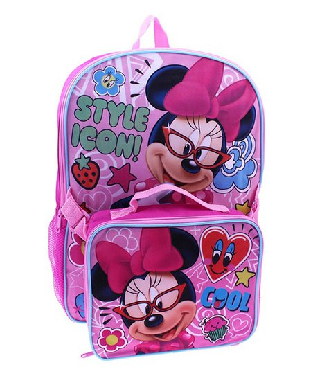 b953028d523 Global Design Disney Pink Minnie Mouse in Glasses Backpack   Lunch ...