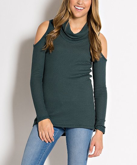5f2bf114fb966 love this product Hunter Green Thermal Shoulder-Cutout Cowl Neck Top