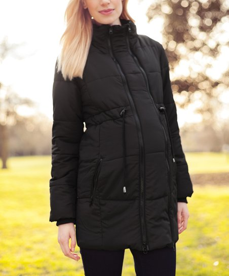 9143e910e72e JoJo Maman Bébé Black Two-in-One Maternity Puffer Coat