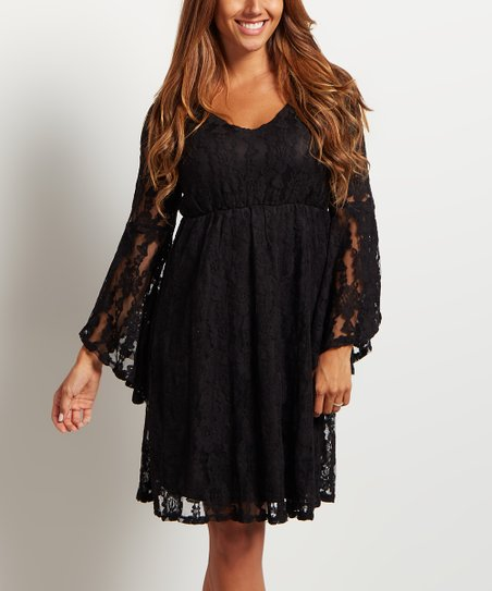 Pinkblush Black Lace Bell Sleeve Empire Waist Dress Zulily