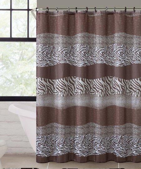 Vcny Home Brown Leopard Shower Curtain Bath Rug Set