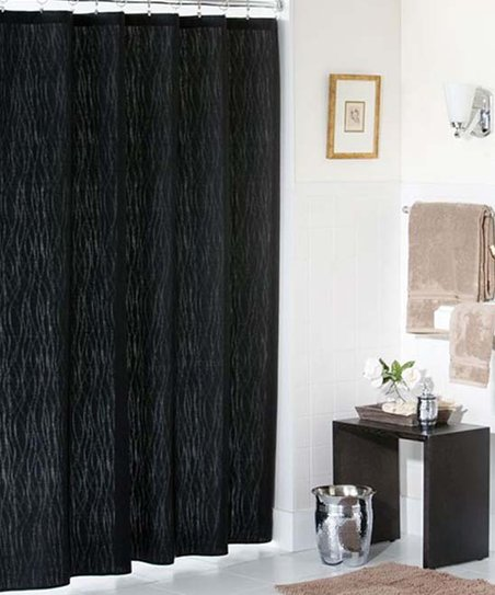 Black Retro Chic Shower Curtain