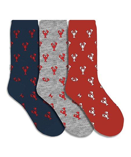 Davco Red & Navy Lobster 3-Pair Crew Socks Set