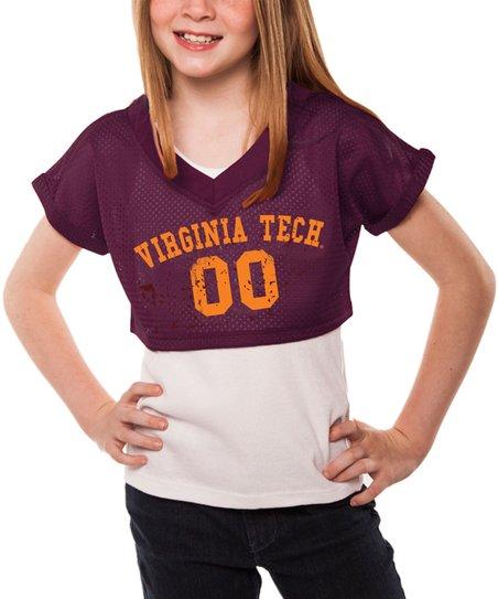 online retailer dc31e 70a62 chicka-d Maroon Virginia Tech Hokies Mesh Crop Top & Tank - Girls