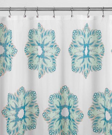 Blue Dahlia Floral Shower Curtain