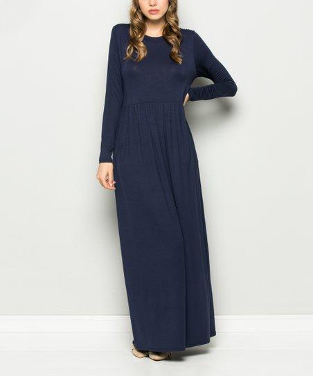 love this product Navy Long-Sleeve Maxi Dress - Women 86a1bb77c4