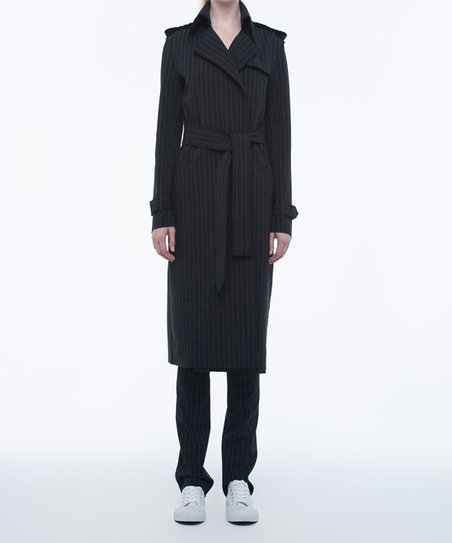 6d5bdb7a06 Norma Kamali Black Pinstripe Double-Breasted Coat