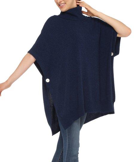 9771c682d Love Cashmere Blue Turtleneck Side-Button Wool-Cashmere Blend Poncho ...