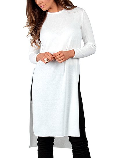 4e3dc40a64c4d2 California Trading Group White Side-Slit Tunic Dress - Plus | Zulily