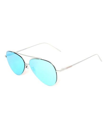 abf4bbdbc6727 Steve Madden Gold   Ice Blue Flat Aviator Sunglasses